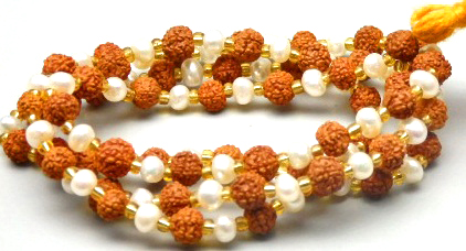 54/55 Pearl Rudraksha Mala 7.50 MM Good