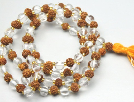 54/55 Crystal Rudraksha Mala 7.50 MM Plain